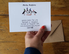 Load image into Gallery viewer, Party Puffins Greeting card by Alice Draws The Line, puffins in rainbow party hats, blank inside and printed on recycled card