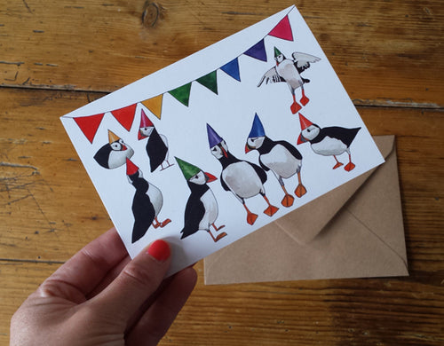 Party Puffins Greeting card by Alice Draws The Line, puffins in rainbow party hats, blank inside and printed on recycled card