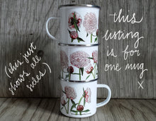 Load image into Gallery viewer, Peony mug by Alice Draws the Line, Enamel mug with illustrations of pink peonies