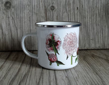 Load image into Gallery viewer, Peonies mug by Alice Draws The Line, enamel mug, flower garden, cut flowers