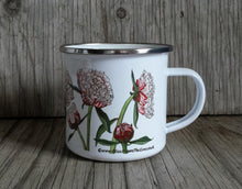 Load image into Gallery viewer, Pink Peonies enamel mug by Alice Draws The Line, pink peony