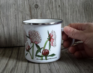 Pink Peonies by Alice Draws the Line, Enamel mug, flower garden, green fingers