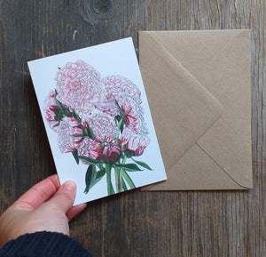 Peony Greeting Card by Alice Draws the Line, pink Peony illustrations, peony bouquet, wedding flowers