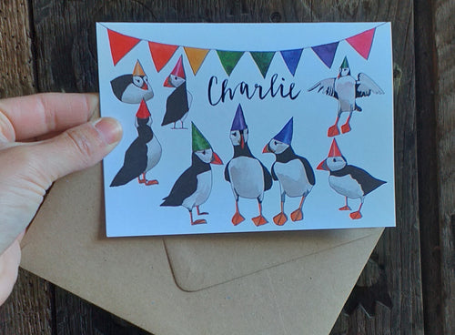 Personalised Puffin greeting card by Alice Draws The Line, Hand lettered, personalised card