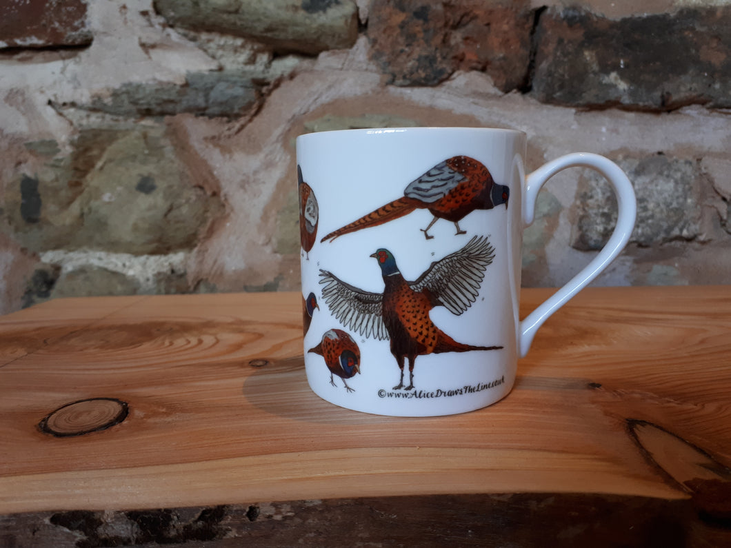 Pheasants china mug by Alice Draws the Line