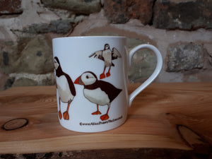 Puffins China mug by Alice Draws The Line, puffin illustrations mug