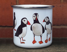 Load image into Gallery viewer, Puffins enamel mug by Alice Draws The Line