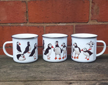 Load image into Gallery viewer, Puffin enamel mug by Alice Draws The Line