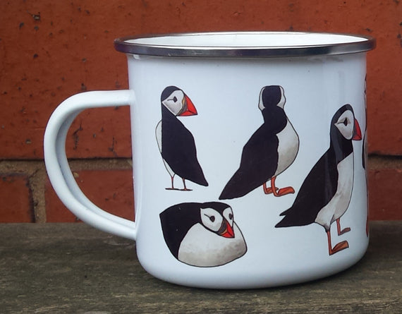 Puffin enamel mug by Alice Draws The Line
