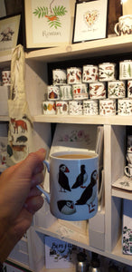 Puffins China mug by Alice Draws The Line shown here in the Alice Draws The Line Studio, Brampton Bryan