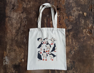 Puffins tote bag by Alice Draws the Line, puffin bag for life