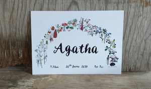 Botanical Rainbow name print by Alice Draws the Line, Birth print, christening print