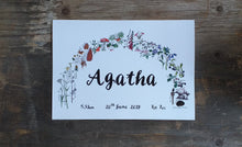 Load image into Gallery viewer, Botanical Rainbow name print by Alice Draws the Line, Birth print, christening print