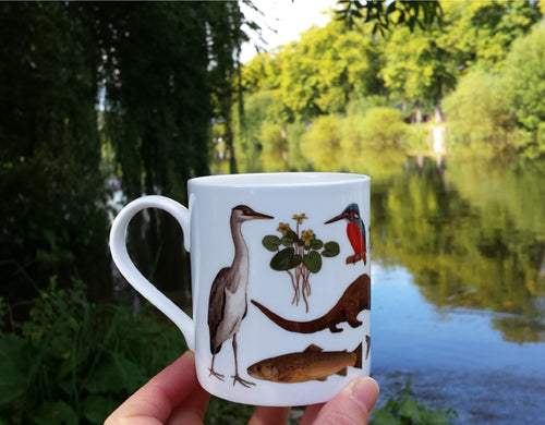 River mug by Alice Draws The Line, River Species china mug featuring trout, pike, otter and kingfisher