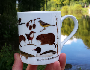 River Species, water vole, dipper, otter, banded demoiselle, kingfisher mug by Alice Draws The Line