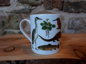 Rivers mug by Alice Draws The Line, river species illustrated on this China mu