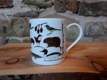 Load image into Gallery viewer, River creatures mug, illustrated river species feature on this china mug by Alice Draws The Line
