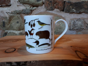 River creatures mug, illustrated river species feature on this china mug by Alice Draws The Line