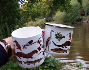 River Species Mugs, water vole, dipper, otter, banded demoiselle, kingfisher mug by Alice Draws The Line