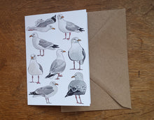 Load image into Gallery viewer, Seagull / Herring Gull greeting card, blank inside
