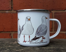 Load image into Gallery viewer, Seagull Enamel Mug by Alice Draws The Line, Herring Gull mug