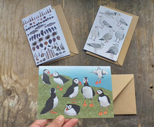 Load image into Gallery viewer, Seaside selection of cards by Alice Draws The Line, set of 3 greeting cards, printed on recycled card and blank inside