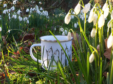 Load image into Gallery viewer, Snowdrop enamel mug by Alice Draws The Line, illustrated mug with snowdrops