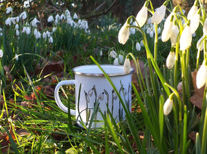 Snowdrop enamel mug by Alice Draws The Line, illustrated mug with snowdrops