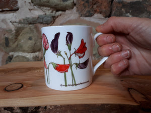 Sweet Peas China Mug by Alice Draws The Line