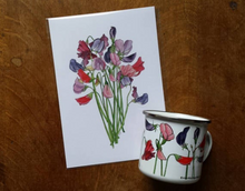 Load image into Gallery viewer, Sweet Peas bouquet art print by Alice Draws The Line, A5 botanical print on recycled card