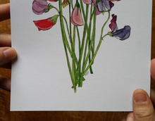 Load image into Gallery viewer, Sweet Peas art print by Alice Draws The Line, A5 botanical print on recycled card