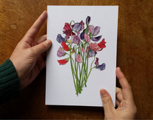 Load image into Gallery viewer, Sweet Pea bouquet art print by Alice Draws The Line, A5 botanical print on recycled card