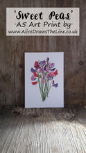 Load image into Gallery viewer, Sweet Pea art print by Alice Draws The Line, A5 botanical print on recycled card