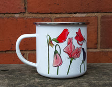 Load image into Gallery viewer, Sweet Pea enamel mug by Alice Draws The Line Mother's day gift, flower enamel mug