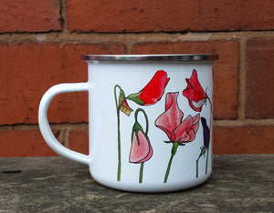 Sweet Pea enamel mug by Alice Draws The Line Mother's day gift, flower enamel mug