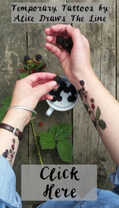 Tree, woodland and blackberry temporary tattoos by Alice Draws The Line