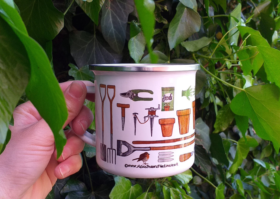 Gardener's Allotment mug by Alice Draws The Line, veg garden mug
