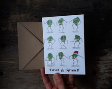 Load image into Gallery viewer, Twist and Sprout Christmas Card by Alice Draws The Line, Brussel Sprouts doing the twist on this humorous Christmas Card