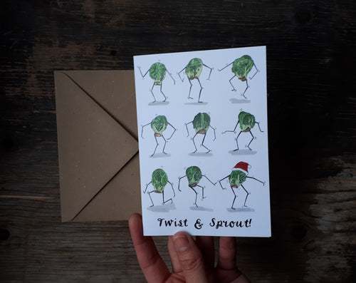Twist and Sprout Christmas Card by Alice Draws The Line, Brussel Sprouts doing the twist on this humorous Christmas Card