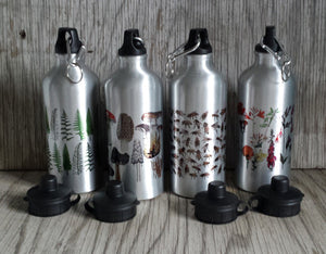 Illustrated water bottles by Alice Draws The Line, botanical water bottles, honey bee water bottles