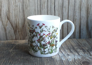 Spring Wildflowers Mug by Alice Draws The Line, cow parsley, red  campion, stitchwort, buttercup
