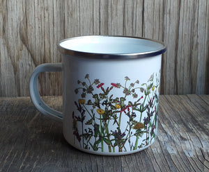 illustrated spring wildflowers enamel mug by Alice Draws The Line, hedgerow flowers ,