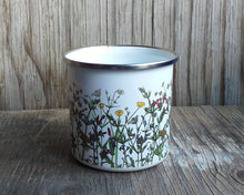 Load image into Gallery viewer, spring wildflowers enamel mug by Alice Draws The Line, hedgerow flowers ,