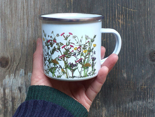 spring wildflowers enamel mug by Alice Draws The Line, hedgerow flowers ,