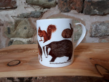 Load image into Gallery viewer, Woodland Animals china mug by Alice Draws The Line, forest gift, enamel mug with Badger, Fox, Hare, Red Squirrel, Grey Squirrel, Wood Mouse, Rabbit and Hedgehog illustrations