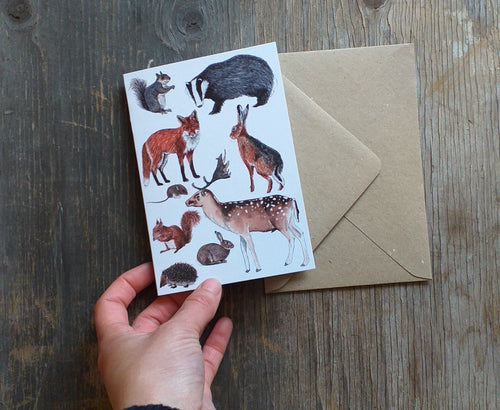 Woodland Animals greeting card by Alice Draws The Line, blank inside and printed on recycled card