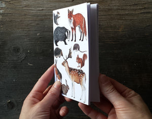 Woodland Animals Notebook, A6 plain pages, recycled paper