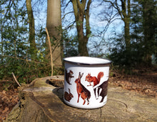 Load image into Gallery viewer, Woodland Animals enamel mug by Alice Draws The Line, forest gift, enamel mug with Badger, Fox, Hare, Red Squirrel, Grey Squirrel, Wood Mouse, Rabbit and Hedgehog illustrations
