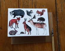 Load image into Gallery viewer, Woodland Animals greeting card by Alice Draws The Line, blank inside and printed on recycled card