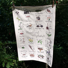 Load image into Gallery viewer, Woodland Alphabet Tea Towel